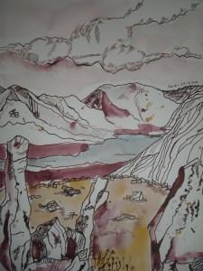 Ein Traum von Irland - Zeichnung von Susanne Haun - 33 x 24 cm - Tusche und Aquarell auf Bütten
