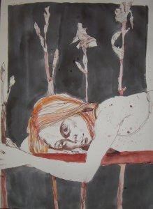 Selbst dunkel - 80 x 60 cm - Tusche und Aquarell auf Silberburg Bütten