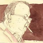 Papa 1 - Zeichnung von Susanne Haun - 15 x 20 cm - Tusche auf Silberburg