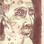 Büste Schliemanns Blatt 2 - Zeichnung von Susanne Haun - Tusche auf Bütten - 20 x 15 cm