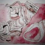 Stillleben mit Unterwäsche - Zeichnung von Susanne Haun - 15 x 20 cm - Tusche auf Bütten