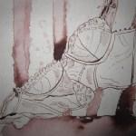 BH über Stuhllehne - Zeichnung von Susanne Haun - 15 x 20 cm - Tusche auf Bütten