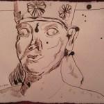 Mann mit Blumenhut - Zeichnung von Susanne Haun - 15 x 20 cm - Tusche auf Bütten
