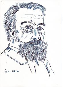 Philosoph - Zeichnung von Susanne Haun - 30 x 20 cm - Tusche auf Bütten