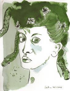 Die Verwandlung der Medusa - Zeichnung von Susanne Haun - 25 x 18 cm - Tusche auf Aquarellkarton