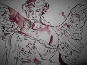 Engel vom Liesenfriedhof - Zeichnung von Susanne Haun - 20 x 25 cm, Tusche auf Bütten