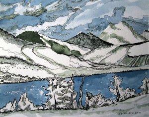 Ebene - Zeichnung von Susanne Haun - 25 x 30 cm - Tusche auf Bütten