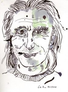 Am Nettelbeckplatz - Zeichnung von Susanne Haun - 20 x 15 cm - Tusche auf Bütten