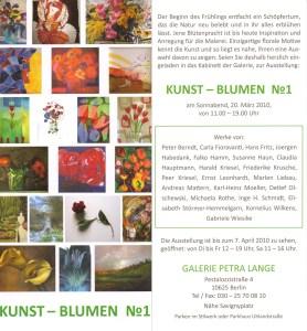 Einladung Ausstellung Kunst-Blumen No 1 in der Galerie Petra Lange