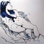 Liegender Akt - Zeichnung von Susanne Haun - 20 x 20 cm - Tusche auf Aquarellpapier
