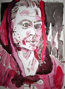 Der Krieger - Zeichnung von Susanne Haun - 32 x 24 cm - Tusche auf Aquarellkarton