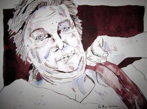 Birgit - Zeichnung von Susanne Haun - 30 x 40 cm - Tusche auf Bütten
