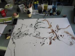Zwei Hirsche der Galeón - Zeichnung von Susanne Haun - 50 x 70 cm - Tusche auf Bütten