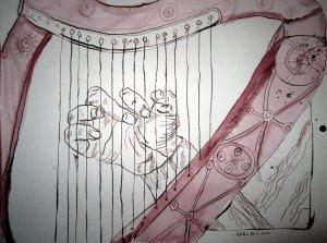 Harfe - Zeichnung von Susanne Haun - 30 x 40 cm - Tusche auf Aquarellpapier