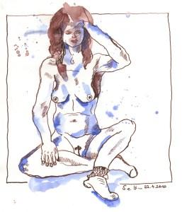 Sitzender Akt mit Socken - Zeichnung von Susanne Haun - 20 x 20 cm - Tusche auf Bütten