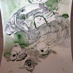 Geier und Amseln - Ausschnitt Rolle - Zeichnung von Susanne Haun - 60 x 40 cm
