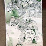 Geier und Amseln und Engel - Ausschnitt Rolle - Zeichnung von Susanne Haun - 130 x 40 cm