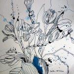 Marlies' Blumenstrauß - Zeichnung von Susanne Haun - 25 x 25 cm - Tusche auf Bütten