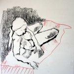 Akt 1 vom 25.4.2010 - Zeichnung von Susanne Haun - 42 x 59,4 cm - Kohle auf Römerturm Skizzenpapier