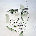 Entstehung Gesicht Krieger - Ausschnitt Rolle Susanne Haun - 30 x 20 cm
