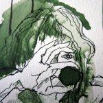 Gesicht Berggöttin - Ausschnitt Rolle Susanne Haun - 15 x 10 cm - Tusche auf Bütten