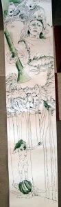 Ausschnitt Rolle Susanne Haun - 170 x 40 cm - Tusche auf Bütten