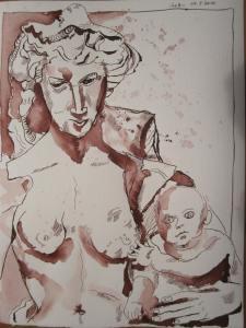 Siena - Zeichnung von Susanne Haun - 33 x 24 cm - Tusche auf Bütten