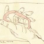Meine Hand mit Karabiner - Zeichnung von Susanne Haun - 15 x 20 cm - Tusche auf Bütten