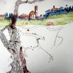 Entstehung Volterra und Olivenbaum - Zeichnung von Susanne Haun