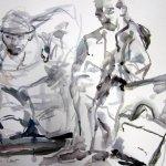 Andreas mit Malschüler in Prag - Aquarell von Susanne Haun - 38 x 56 cm - Aquarell auf Bütten