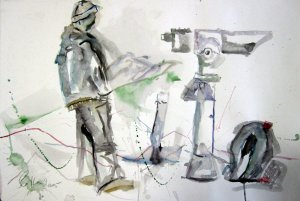 Andreas auf dem Vysherad - Aquarell von Susanne Haun - 38 x 56 cm - Aquarell auf Bütten
