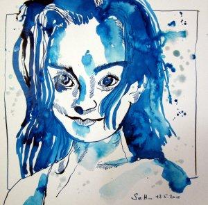 Jugend - Zeichnung von Susanne Haun - 25 x 25 cm - Tusche auf Bütten