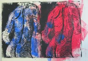 Akt mit Handtuch - Linoldruck von Susanne Haun - 3/12 - 18 x 26cm