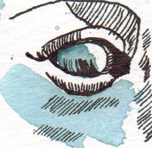 Ausschnit aus Athenas Gesicht - Zeichnung von Susanne Haun - 17 x 24 cm - Tusche auf Hahnemühle Cornwall