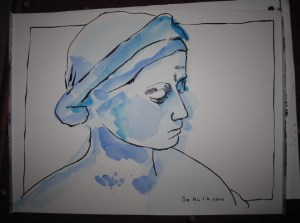 Alabasterkopf - Zeichnung von Susanne Haun - 24 x 32 cm - Aquarell und Tusche auf Hahnemühle Aquarellpapier