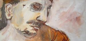 Andreas 2005 - Acryl und Tusche auf Leinwand von Susanne Haun - 50 x 100 cm