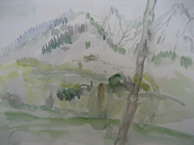 Der Watzmann in Berchtesgarden - Aquarell von Susanne Haun - 38 x 56 cm