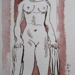 Karyatide - Zeichnung von Susanne Haun - 24 x 24 cm - Tusche auf Bütten