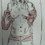 Stehender Akt - Zeichnung von Susanne Haun - 20 x 15 cm - Tusche auf Bütten