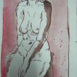 Akt mit Strümpfen - Zeichnung von Susanne Haun - 20 x 15 cm - Tusche auf Bütten