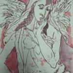 Engel - Zeichnung von Susanne Haun - 20 x 15 cm - Tusche auf Bütten
