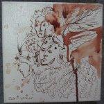 In eine Richtung schauen - Zeichnung von Susanne Haun - 20 x 20 cm - Tusche auf Leinwand - gefirnist