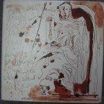 Wächterengel - Zeichnung von Susanne Haun - 20 x 20 cm - Tusche auf Leinwand - gefirnist