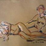 C. und J. im Schwimmbad 1 - Zeichnung von Susanne Haun - 60 x 80 cm - Acryl und Ölkreide auf Büttenpapier