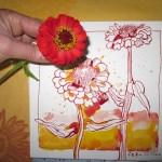 Erster Eindruck von gestern Abend - Zeichnung von Susanne Haun - 20 x 20 cm - Gelbe und Rote Tusche auf Bütten