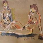 C. und J. im Schwimmbad 2 - Zeichnung von Susanne Haun - 60 x 80 cm - Acryl und Ölkreide auf Büttenpapier