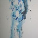 Blauer stehender Akt - Aquarell von Susanne Haun - 40 x 30 cm