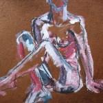 Die Studentin - Zeichnung von Susanne Haun - 60 x 80 cm - Acryl und Ölkreide auf Büttenpapier