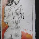 Rückenakt - Zeichnung von Susanne Haun - 20 x 15 cm - Tusche auf Bütten