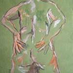 M. mit beiden Beinen im Leben - Zeichnung von Susanne Haun - 60 x 80 cm - Acryl und Ölkreide auf Büttenpapier
